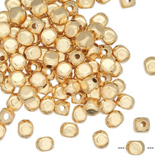 100 Gold Plated Brass Small 3mm Smooth Square Round Beads