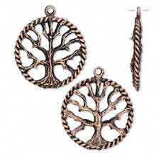 2 Antiqued Copper Plated Pewter Tree of Life Charms ~ 22mm