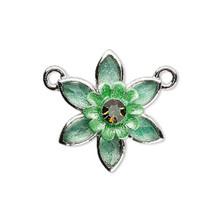 1 Enamel Flower Rhinestone Crystal  Green Link Connector ~ 23x27mm  *