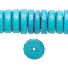 "8"" Strand Wood Dark Turquoise 15mm Rondelle Disc Spacer Beads"