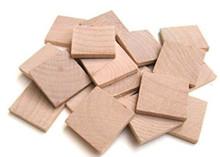 "100 Wooden 1 1/4""x1 1/4"" x1/8"" Hardwood Straight Edge Square Tiles"