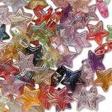 100 Acrylic Iridescent Multi Star Beads Mix ~ 10x9x3.5mm   *