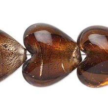 "16"" Strand Lampwork Glass Honey Brown Heart Beads ~  Approx 25mm  *"
