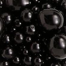 156 Fine Czech Pressed Glass Pearl Jet Black Bead Mix  *