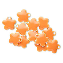 12 Silver Plated & Orange Enamel 10mm Flower Charms *