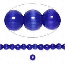 1 Strand Blue Cat's Eye Fiber Optic Glass 4mm Round Grade A Beads