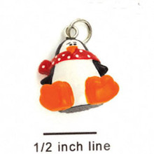 4 Resin Penguin with Scarf Charms ~ 3D CUTE !