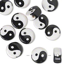 10 Porcelain Black & White Yin Yang Symbol Beads ~  15mm