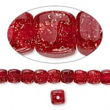 1 Strand Red Crackle Glass Square Cube Beads ~ 5x5mm-6x6mm  *