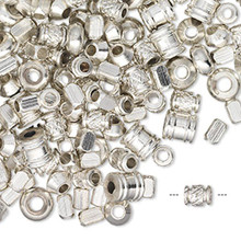 1/4 Pound Silver Plated Brass Bead Mix ~ 300+ Beads *
