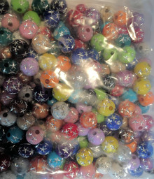 Acrylic 8mm Round  Bead with Stars ~ You Choose Colors