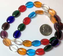 16 Inch Strand Oval True Color Transparent Glass Bead Mix ~  12x9mm  *