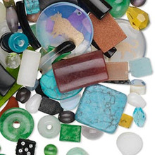 1/2 Pound Gemstone & Glass Components Shape & Color Mix  *