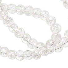 1 Strand Crystal Clear Crackle Glass 5-6mm Round Beads *