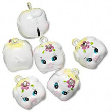 6 Adorable White Pig with Crystal Bell Charms ~ 20x20mm