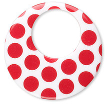 4 Acrylic White & Red Dotted 38mm Round Go Go Drop Charms *