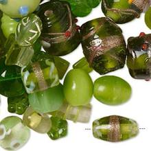 100 grams Fancy Lampwork Glass Peridot Green Glass Bead Mix