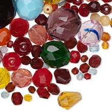 100 Grams Czech Fire Polished Glass Faceted Bead Mix ~ 3mm-70x19mm *