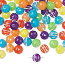 100 Assorted Stripe Round Resin Beads  ~  Mixed Colors ~ 6mm *