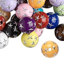 75 Grams Acrylic 12mm Multi Colors Round Beads with Silver Stars *