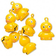 6 Adorable Yellow Duck Bell Charms ~ 26x18mm