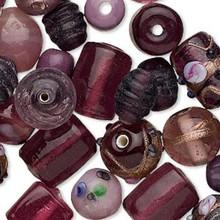 100 grams Fancy Purple Amethyst Lampwork Glass Bead Mix