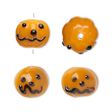 4 Lampwork Glass Orange Pumpkin Halloween Beads ~ 13x11mm