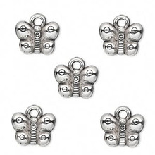 50 Grams Antiqued Silver Metalized Plastic 12x9mm Butterfly Charms