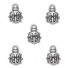 50 Grams Antiqued Silver Metalized Plastic 10x9mm Ladybug Charms *