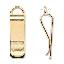 10 Gold Plated Brass Bookmark Waistband Clips with Loop ~ 30x10mm