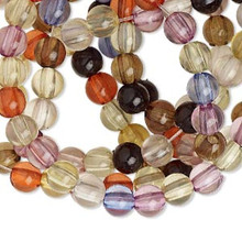 """36"""" Strand Transparent Assorted Colors Acrylic 6mm Smooth Round Beads *"""