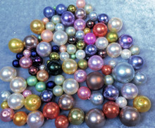 1/4lb Fine Czech Pressed Glass Pearl Round Bead Mix  ~ 3-16mm *
