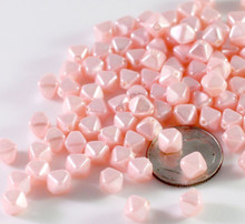 100 Czech Glass Opaque Pearl Pink 6x6mm Bicone Beads *
