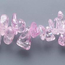 "15"" Strand Light Mauve Pink Ice Flake Quartz Large Chip Beads *"