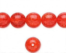 1 Strand Orange Crackle Glass 10mm Round Beads