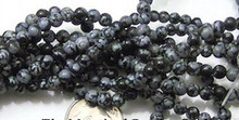 1 Strand Black Grey Snowflake Obsidian 4mm Round Beads *
