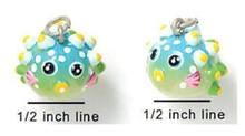4 Adorable Resin Tropical Blowfish Charms ~  3 Dimensional Fish