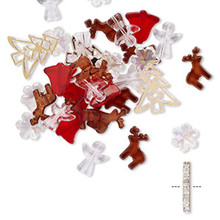 70 Assorted Acrylic Christmas Beads ~Angels Bells Tree Reindeer & Snowflakes Mix