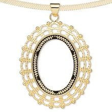 1 Gold Plated Brass 58x49mm Cabochon Pendant 40x30mm Oval Setting with Bail