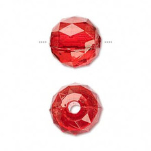 100 Grams Faceted Acrylic Transparent Red 15mm Round Beads