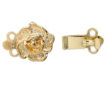 10 Gold Plated Brass 9x9mm Rose Flower 2 Strand Box Clasps