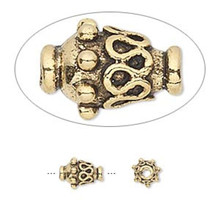 10 Antiqued Gold Plated Pewter Ornate Vase Beads ~ 8x6mm *