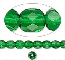 1 Strand Czech Fire Polished Faceted Round Glass Beads ~ 6mm ~  Emerald Green