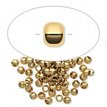 100 Gold Plated Brass Smooth Micro Round Spacer Beads ~ 3mm