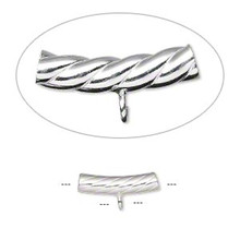 1 Sterling Silver Curved Twisted Tube Bead with Loop ~ 3x15mm *