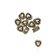 10 Antiqued Brass  Plated Pewter Heart Rondelle Beads ~ 5.5x3.5mm