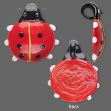 1 Large Black Red Glass Ladybug Pendant  ~ 38x35mm