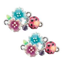 2 Imitation Rhodium Ladybug Flower Leaves Connectors  ~ 23x19mm *