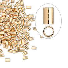 100 Gold Plated Brass Seamless 3x2mm Tube Crimp Beads ~ 1.4mm ID