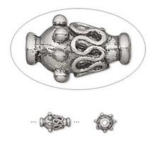 10 Antiqued Pewter Ornate Vase Beads ~  8x6mm  *